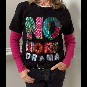 """Zara Trafaluc Shirt Sleeve """"NO MORE DRAMA"""" Shirt"""